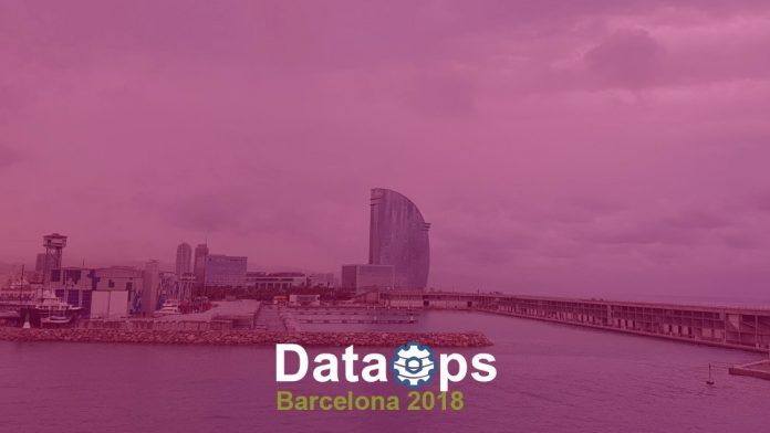Dataops Barcelona logo with background of the city