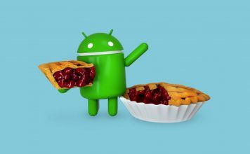 Android mascot with pie