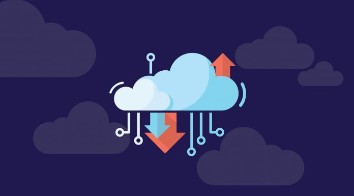 cloud illustration with arrows and tech